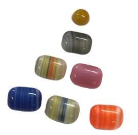 10 x DQ Octagon Glas cabochon mix 7 x 5mm