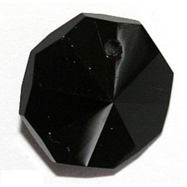 2x Preciosa kraal Zwarte octagon 14 mm preciosa jet, 1 gaatje
