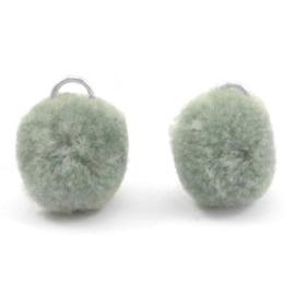 2 x Pompom bedel met oog zilver 15mm Chinois green grey