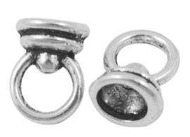 10 x Tibetaans zilveren plak bails hanger kralenhoedje 11 x 7,5mm oogje: 5mm