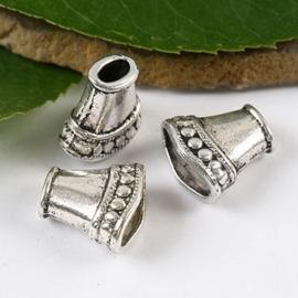 5 x Prachtig mooi Tibetaans zilveren kralenkapje  16 x 16 x 8mm Gat: 5,5 x 3mm