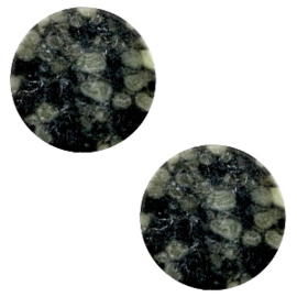 1 x Cabochon basic plat stone look 12mm Black-green