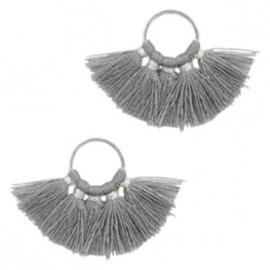 Kwastjes hanger Silver-dark grey