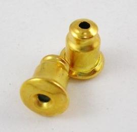 20 stuks vergulde oorbel stoppers 5 x 6mm of te gebruiken als dopjes voor spelden!
