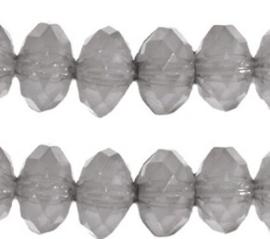 30 x Acryl facet kralen Donut Grijs Opaal 6mm