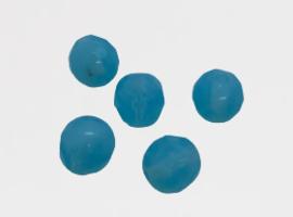 10 x Glaskraal facet licht blauw 8x7.5mm gat: 1mm