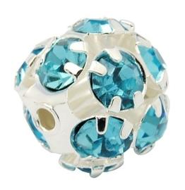 Kristal ballen 8mm turquoise gat 1mm
