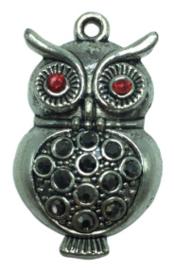 1 x uil hanger  met strass steentjes 38 mm oogje 2 mm zwart