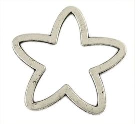 4 x mooie tibetaans zilveren gesloten sterring 24 x 25 x 1,5mm