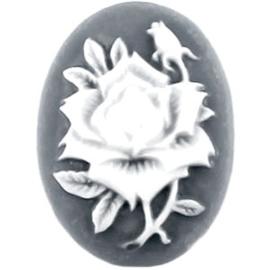 Per stuk Camee ovaal Donker grijs / wit ca. 19x13 mm