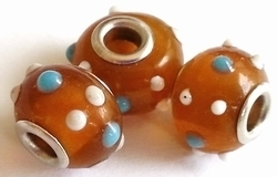Per stuk Glaskraal European-style bruin met witte en blauwe pukkels 14 mm