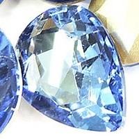 2x Kristallen facet cabochon in de vorm van een druppel 13 x 18mm blauw