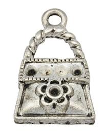 4 x tibetaans zilveren bedeltje van een tasje 13,5 x 22 x 4mm gat: 2mm