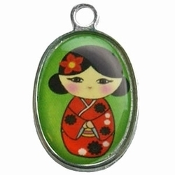 Per stuk Metalen bedel geisha Groen 25 mm