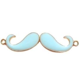 2 x Bedel goud 2 ogen moustache snor  large licht blauw ca. 55 x 13 mm