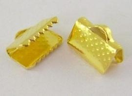 10 stuks lint of veterklemmen 10 x 7 x 5mm gat: 2mm goudkleur