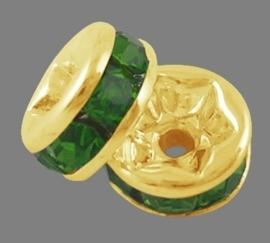 50 stuks kristal spacer verguld 10mm donker groen gat 1,5mm