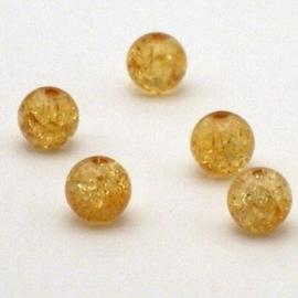 30 stuks  transparant crackle kraal 7 x 8 mm Gat 2mm light topaz