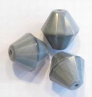 5x Glaskraal geslepen konisch Lichtgrijs 16 mm