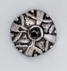 10 x Tibetaans zilveren kralenkapje 4 mm x 9 mm