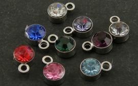 5 stuks prachtige kleine RVS hangertjes met bergkristal strass 4x3mm gat: 1mm Mix