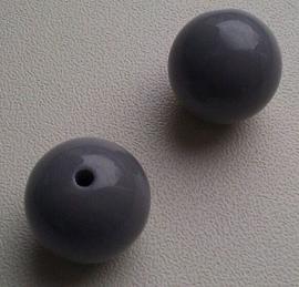 10 Stuks Acrylkralen grijs 15,5 mm, gat 3 mm