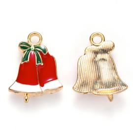 2 x Tibetaans zilveren hanger kerstbellen 31 x 16 x 3mm gat 2mm