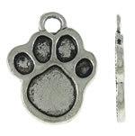 4 x Tibetaans zilveren bedeltje van een hondenpoot 23 x 18 x 2mm gat: 3mm