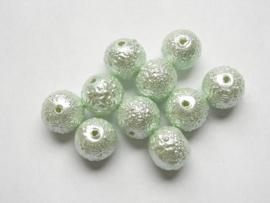 10 Stuks Iced glasparels 10mm  Gat: 2mm suiker parel groen