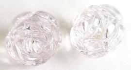 Per stuk Luxe kunststof kraal roos Transparant wit 25 mm Gat: 3 mm