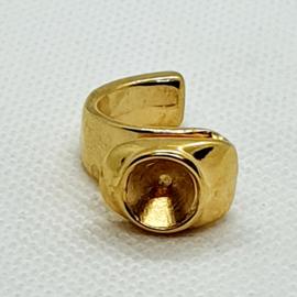 DQ metaal ring voor puntsteen SS39 Goud
