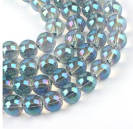 30 x DQ Glaskralen Rainbow grijsblauw 8 mm