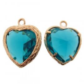 Bedel metaal hart cubic zirconia facetlila aqua blauw groen rosé goud 16x19mm