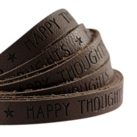 20 cm plat imi leer 10mm met quote Happy thoughts Dark chocolate brown