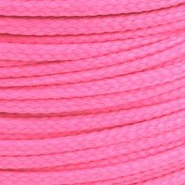 1 meter sieradenkoord c.a. 5 x 3mm kleur Fuchsia Pink