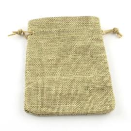 Cadeauzakje van Jute c.a. 14 x 10cm DarkKhaki