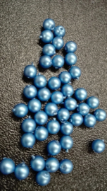 50 x Glasparels mm mat blauw Gat: 1mm