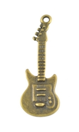 5x geel koper kleur metalen bedel gitaar 36 x 12 x 2mm oogje: 2mm