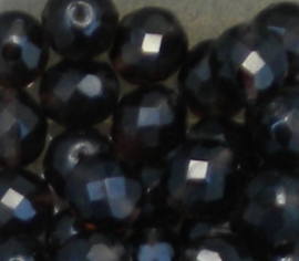 1 x Mooie facet kristalkraal donkerbruin 12mm