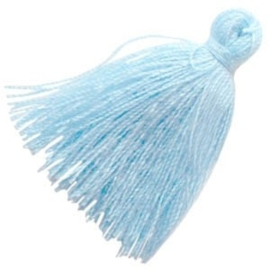 2 x Kwastjes Aquamarine blue 3 cm