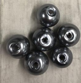10 Stuks zilveren glasparels 6mm gat 1mm