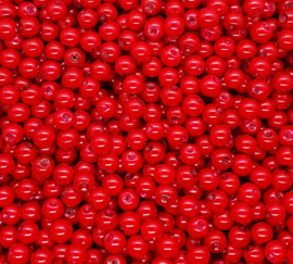 30 stuks glasparels 8mm gat c.a. 1mm kleur Fire red