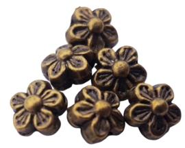 5x Metalen kraal van een bloemetje geelkoper 8 mm