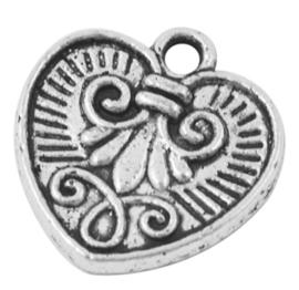 10x Tibetaans zilveren bedeltje van een hart 15,5 x 15 x 2mm Gat: c.a 2mm