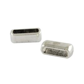 10 x metalen schuivertjes 13x5 mm antiek zilver Ø 10x3 mm