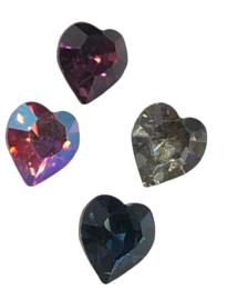 2x Precosia kristal in de vorm van een hart Mix 6,5 mm