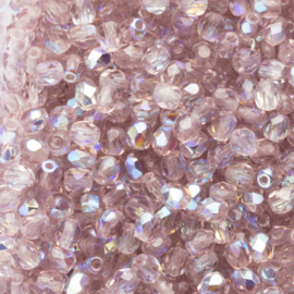20 x ronde Tsjechië facet  kristal kralen 4 mm Kleur: ab licht paars Gat: 1mm