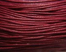 10 meter waxkoord 1,5mm dik kleur: bordeaux rood