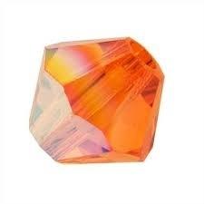 30 x Preciosa Kristal Bicone kraal 4 mm oranje