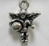4 x Tibetaans zilveren 3D engeltje 13 mm gat: 1,5mm